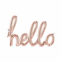 Parti Yıldızı - Hello Yazısı Rose Gold Folyo Balon