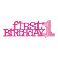 AMSCAN - İlk Doğum Günü Işıltılı Pembe Masa Orta Süsü 35.6x