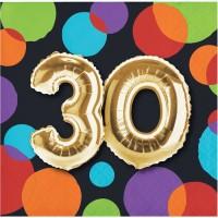 Parti Yıldızı - Işıltılı Balonlar 30 YAŞ 16 lı Küçük Peçete