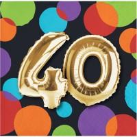 Parti Yıldızı - Işıltılı Balonlar 40 YAŞ 16 lı Küçük Peçete