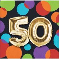 Parti Yıldızı - Işıltılı Balonlar 50 YAŞ 16 lı Küçük Peçete