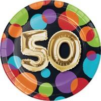 Parti Yıldızı - Işıltılı Balonlar 50 YAŞ Küçük Tabak 8 Adet