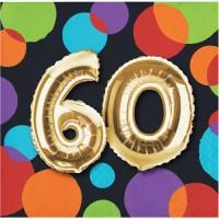 Parti Yıldızı - Işıltılı Balonlar 60 YAŞ 16 lı Küçük Peçete