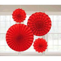 Parti Yıldızı - Işıltılı Yelpaze Set 4 Adet - Kırmızı