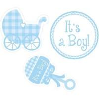 Parti Yıldızı - It is a Boy Bebek Arabalı 3 lü Duvar süsü