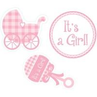Parti Yıldızı - It is a Girl bebek arabalı Duvar Süsü 3 lü