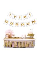 Parti Yıldızı - İyiki Doğdun Banner Beyaz Üzeri Gold
