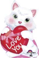 Parti Yıldızı - Jshape Kalp Tutan Beyaz Kedi Balon 33x50cm