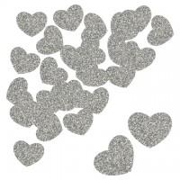 Parti Yıldızı - Kalp Simli Konfeti Gümüş 30 Adet
