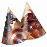 Parti Yıldızı - Kaptan Amerika ve Demir Adam 6 Adet Şapka