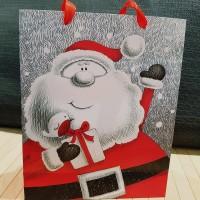 Parti Yıldızı - Karton Çanta Noel Baba Büyük Boy (30X42X12)