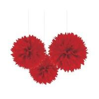 AMSCAN - Kırmızı Renk Ponpon Çiçek 3 Adet