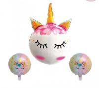Parti Yıldızı - Kirpikli Unicorn Folyo Balon Seti