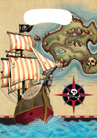 Parti Yıldızı - Korsan Haritası Hediye Poşeti 8 li
