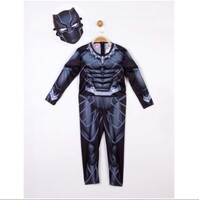 Parti Yıldızı - Kostüm Black Panther Kaslı 7-9 Yaş