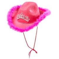Parti Yıldızı - Kovboy Kız Şapkası Pembe Otrişli