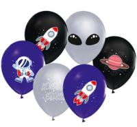 Parti Yıldızı - Kozmik Galaksi Paketli Latex Balon 6 Adet