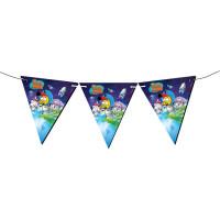 Parti Yıldızı - Kral Şakir Uzayda Üçgen Bayrak Afiş