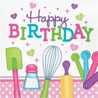 Parti Yıldızı - Küçük Şefler Happy Birthday Peçete 16 Adet
