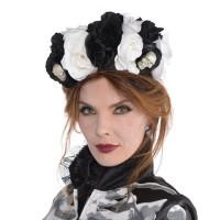 Parti Yıldızı - Kuru Kafalı Siyah Beyaz Çiçekli Başlık