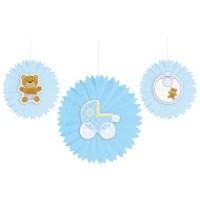 Parti Yıldızı - Mavi Bebek Ayıcık 3 lü Yelpaze Asma Süs