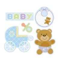 Parti Yıldızı - Mavi Bebek Ayıcık 5 li Duvar Süsü