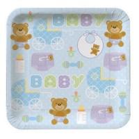 Parti Yıldızı - Mavi Bebek Ayıcık 8 li Küçük Tabak