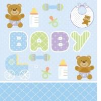 Parti Yıldızı - Mavi Bebek Ayıcık Masa Örtüsü