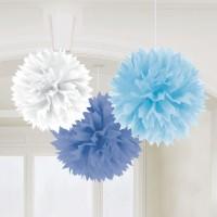 AMSCAN - Mavi Beyaz Renklerde Ponpon Çiçek 3 Adet