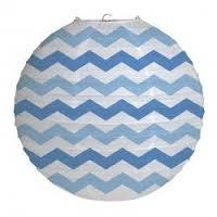 Parti Yıldızı - Mavi Çizgili Büyük Boy Fener 30 cm 1 Adet