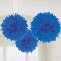 AMSCAN - Mavi Renk Ponpon Çiçek 3 Adet