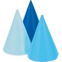Parti Yıldızı - Mavi Tonlarda Mini Parti Şapkası 8 Adet
