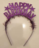 Parti Yıldızı - Metal Parti Tacı Happy Birthday Mor Renk