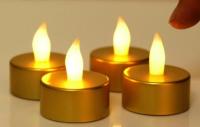 Parti Yıldızı - Metalik Gold Tealight Led