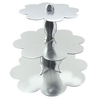 Parti Yıldızı - Cup Cake Standı Metalik Gümüş