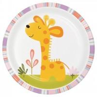 Parti Yıldızı - Mini Safari Partisi Zürafa 8 li Küçük Tabak