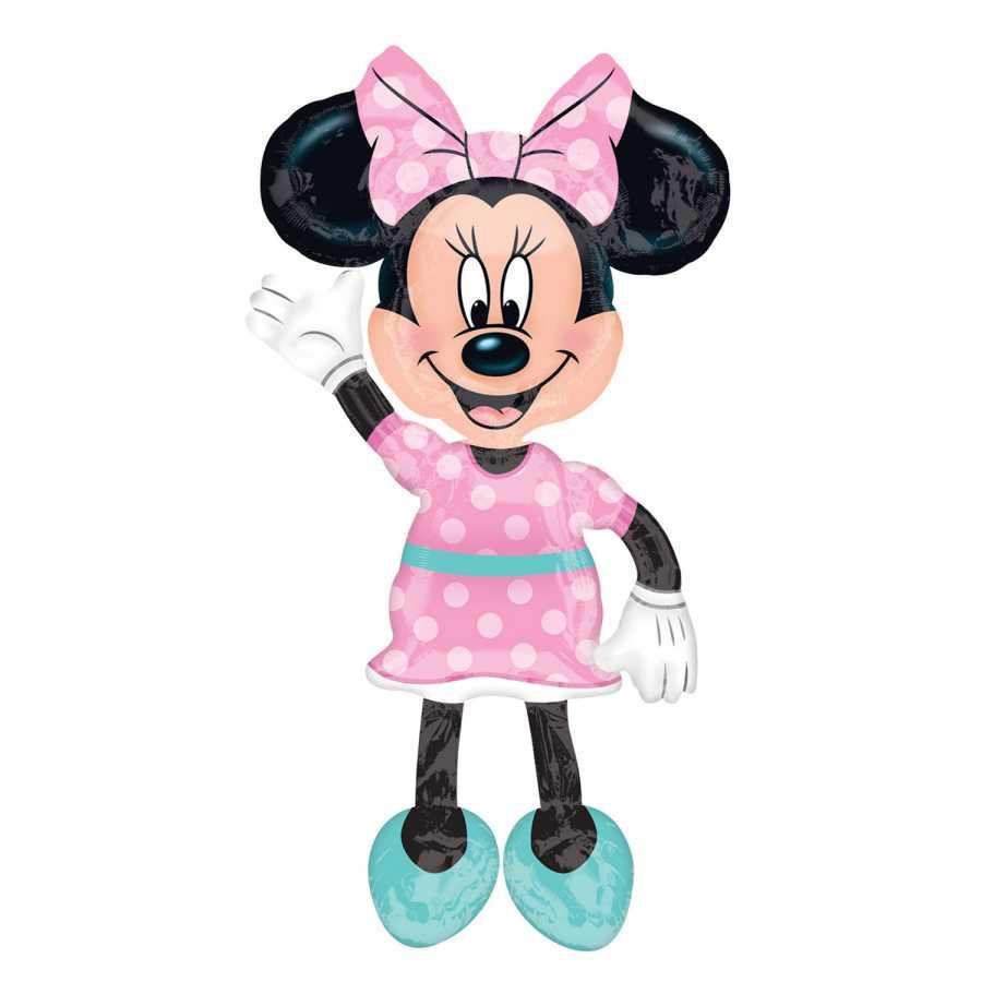 Minnie Mouse Pembe Yürüyen Balon 96x137cm Folyo Balonlar Parti Yıldızı