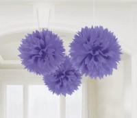AMSCAN - Mor Renk Ponpon Çiçek 3 Adet
