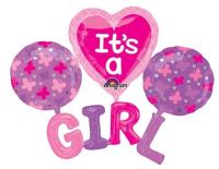 Parti Yıldızı - Mshape Its a Girl Yazılı Folyo Balon 81x81cm