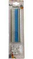 Parti Yıldızı - Mum 13 cm Simli Mavi Gümüş 12li