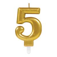 Parti Yıldızı - Mum - Altın 5 Rakamı Parlak