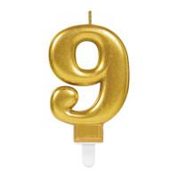 Parti Yıldızı - Mum - Altın 9 Rakamı Parlak