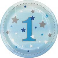 Parti Yıldızı - One Little Star Mavi 1 Yaş Küçük Tabak 8 adet