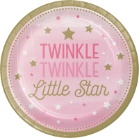 Parti Yıldızı - One Little Star Pembe 8 li Tabak