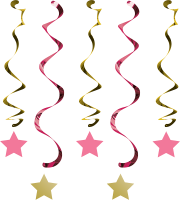 Parti Yıldızı - One Little Star Pembe Süs Dalgası 5 Adet