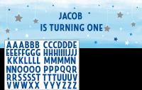 Parti Yıldızı - One Little Star Stickerlı Mavi Dev Afiş