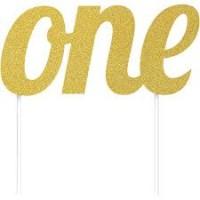 Parti Yıldızı - ONE Simli Altın Renk Çubuklu Yazı