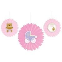 Parti Yıldızı - Pembe Bebek Ayıcık 3 lü Yelpaze Asma Süs