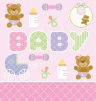 Parti Yıldızı - Pembe Bebek Ayıcık Masa Örtüsü