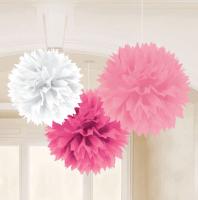 AMSCAN - Pembe Beyaz Renklerde Ponpon Çiçek 3 Adet